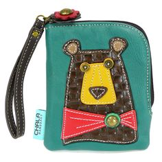"Chala Zip Wallet - Brown Bear. Fun & Functional Hold your credit cards, ID, currency, and coins altogether!•Cute Brown Bear with stitches and a metal button eyes •Zippered top closure with charm •Zippered coin pocket on the back •Patterned fabric lining •Antique brass toned hardware •Currency/ coin compartment •Multiple credit card slots Material: Canvas cotton & textured faux leather Approx. measurements: 4.5""W x 0.5""D x 5.5""H, Shop online at www.shopthehandbagstore.com"