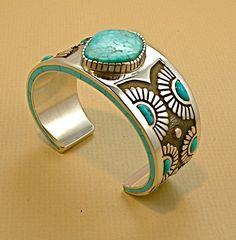 Cuff | Kirk Smith (Navajo). Silver and Kingman Turquoise: