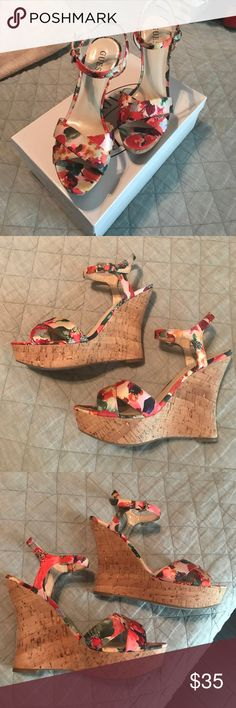 GUESS FLORAL CORK WEDGES GUESS FLORAL CORK WEDGES size 8M wrn only a few times. Super cute and comfortable Guess Shoes Wedges