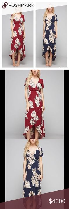 SALE!! STUNNING FLORAL DRESS IN BURGUNDY Gorgeous Faux Wrap Hi Lo Dress featuring a pretty Floral print.  It features an elastic waist & flows lovely around the legs!   Available in Burgundy, Blush Gray, or Navy. THIS LISTING IS FOR BURGUNDY.   Sizes S, M, L.  Polyester/Spandex.  No trades.  Price is firm unless bundled. Southern Charm Boutique Dresses