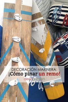 La decoración marinera es una de las favoritas del verano. Una decoración acogedora y fresca estupenda para darle un aire renovado a nuestro hogar. Desde Decogarden nos enseñan a elaborar un complemento marinero precioso, práctico, ¡y muy fácil de hacer! Toma nota y ponte manos a la obra. Skateboard, Diy, Learn To Paint, How To Paint, Nautical Style, Taking Notes, Coat Racks, Easy Crafts, Skateboarding