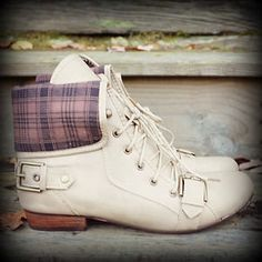 Beige Plaid Fold Over Oxford Combat Boots Lace Up Military Fashion Trend Preppy