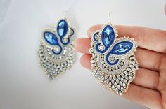 soutache earrings DOUBLESIDED by CattaleyaJewelry on Etsy