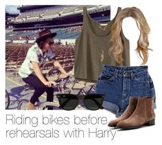 """REQUESTED: Riding bikes before rehearsals with Harry (with blue shorts and Chelsea boots)"" by style-with-one-direction ❤ liked on Polyvore"