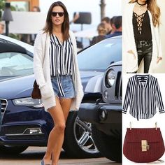 Alessandra wearing a Forever 21 cardigan Rails shirt and Chloe bag  Shopping info at www.starstyle.com  #alessandraambrosio #forever21 #chloe #rails #starstyle #style #fashion #celebritystyle #style #fashion  #ootd #lotd #fashionblog #streetstyle #styleblog