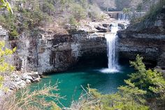 This trio of trails tours the rim of a ravine down to a waterfall that plunges 104-feet into an aquamarine pool feeding DeSoto Falls Lake.