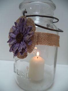 12 Purple Plum Burlap Mason Jar Rustic Centerpiece Wedding Party Decorations J9 #BurlapBrides