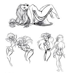 Ariel concept art - apparently, Ariel used to be a LOT curvier... ✤ || CHARACTER DESIGN REFERENCES | キャラクターデザイン |  • Find more at https://www.facebook.com/CharacterDesignReferences  http://www.pinterest.com/characterdesigh and learn how to draw: concept art, bandes dessinées, dessin animé, çizgi film #animation #banda #desenhada #toons #manga #BD #historieta #strip #settei #fumetti #anime #cartoni #animati #comics #cartoon from the art of Disney, Pixar, Studio Ghibli and more || ✤