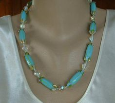 Japan Blue Green Glass Bead Necklace AB Crystals Seed Beads Vintage Jewelry
