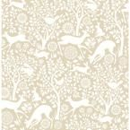 Meadow Taupe Animals Wallpaper, Grey