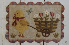 Chick & Pull Cart Wool Applique Wall Quilt Pattern by Buttermilk Basin