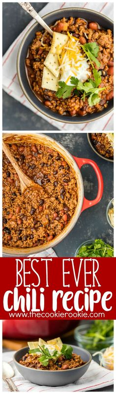 This Best Chili Recipe has been in our family for years. I've had a lot of chili in my life, from white chicken chili to vegetarian chili, and this is hand's down the BEST CHILI I have ever tasted. Two types of meat, lots of beans, and loaded with cheese, sour cream, crackers, and more! You will want to eat this Best Easy Chili Recipe year round, not just the cold months.#chili #beef #beans #comfortfood via @beckygallhardin