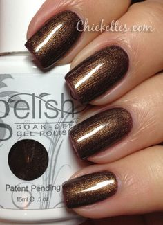 Gelish Sweet Chocolate.  My ABSOLUTE fave nail color.  Looks good any season.