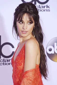 Camila Cabello Wavy Dark Brown Pinned-Back, Thin Bangs Hairstyle | Steal Her Style