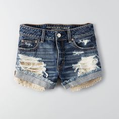AEO Hi-Rise Festival Shorts (£36) ❤ liked on Polyvore featuring shorts, relaxed fit shorts, distressed shorts, torn shorts, destroyed shorts e ripped shorts