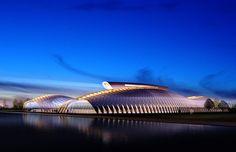 Astana Sports club is designed as a training center to Asatana Major sports team. Sports Clubs, Training Center, Architects, Opera House, Building, Modern, Anime, Travel, Trendy Tree
