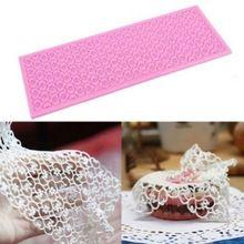 Retângulo grande bolo Silicone Fondant Mould DIY flor Mat Lace Mold Sugar Craft ferramentas de cozimento de decoração(China (Mainland))