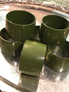 1970s Vtg Set Of 6/Six Avocado Green Napkin Rings Hard Plastic Retro Mid Century