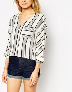 Image 3 of ASOS Mono Stripe Blouse With Deep V Neck