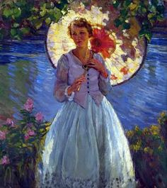 Karl Albert Buehr (1866 – 1952) Young Woman with Parasol