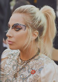 57465f8e8c62 Lady gaga  makeup at Tommy Hilfiger fashion show in Venice Beach, California