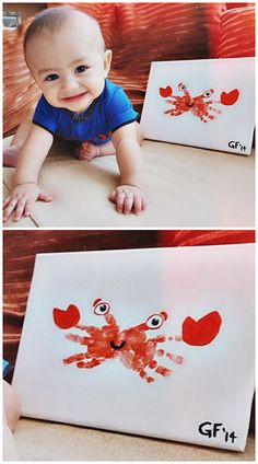 25 Fun and Beautiful Handprint & Footprint Crafts for Your Kids to Make This Summer Handprint Crab Craft . Related Ways to Make Cereal Box Interesting Christmas Crafts For Kids of All. Kids Crafts, Crab Crafts, Daycare Crafts, Summer Crafts, Toddler Crafts, Crafts To Do, Preschool Crafts, Crafts For Babies, Infant Crafts