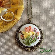 851 Likes, 26 Comments - Yeşim Yerebasmaz Sarıhan (jadesboxx accessories) on I. Embroidery Needles, Embroidery Jewelry, Embroidery Patterns, Ribbon Embroidery Tutorial, Silk Ribbon Embroidery, Ribbon Art, Ribbon Crafts, Handmade Accessories, Handmade Jewelry