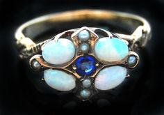 Antique Victorian Opal Sapphire & Seed Pearl Ring in 10k Gold Size 7 No Reserve