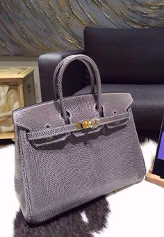 Hermes Birkin 25cm Lizard Hand Stitched Palladium Hardware, Graphit Gray - Shop…