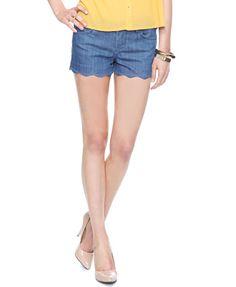 Life In Progress™ Scalloped Denim Shorts | LOVE21 - 2011409484-love these!