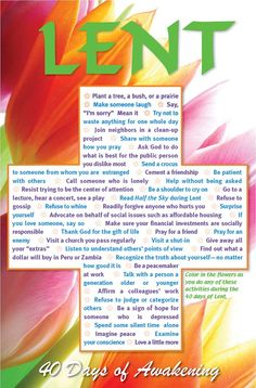 """Prepare for Lent with this beautiful 12x18"""" poster, """"40 Days of Awakening.""""  Features activities to help you experience the season."""