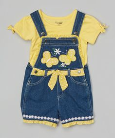 Look at this Yellow Top & Blue Denim Shortalls - Infant, Toddler & Girls by Nannette Girl Baby Dress Clothes, Bitty Baby Clothes, Doll Clothes, Fashion Kids, Little Kid Fashion, Toddler Outfits, Baby Boy Outfits, Kids Outfits, Girls Yellow Top