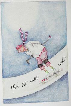 "Christina Thrän | Briefkarte ""Opa ist voll cool"""