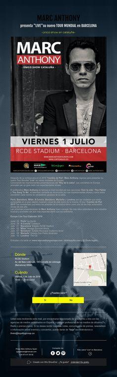 """MARC ANTHONY  presenta""""LIVE"""" su nuevoTOUR MUNDIALen BARCELONA  -único show en cataluña-"""