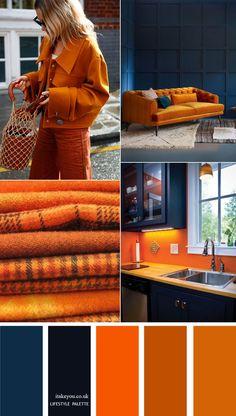 Dark blue and orange colour combos { 15 Color Palette Ideas for Home Decor }