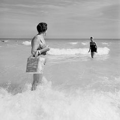 Vivian Maier - Two women on the beach, black and white photography