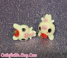 Kawaii Strawberry Bunny Stud Earrings
