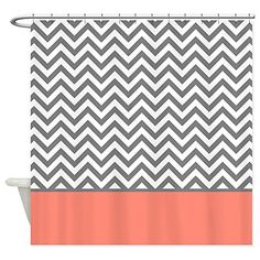 Grey And Coral Shower Curtain AVALON CORAL By Monika Strigel 68 00 House