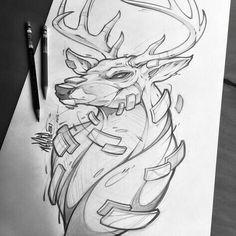 Dibujos a lápiz Woman Denim Jacket woman's denim jacket Animal Sketches, Animal Drawings, Cool Drawings, Drawing Sketches, Deer Drawing, Drawing Faces, Tatoo Art, Art Minimaliste, Deer Art