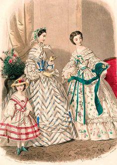 Victorian Era Fashion, 1850s Fashion, Victorian Women, Historical Costume, Historical Clothing, Retro Fashion, Vintage Fashion, Steampunk Fashion, French Fashion