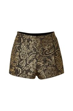10 Baroque/Rococo Fashion Buys: Lipsy Brocade Gold Lace Shorts from House of Fraser. #Stylish365