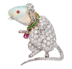 Opal Mouse Brooch - verdura opal, emerald, ruby and diamond mouse brooch #opalsaustralia