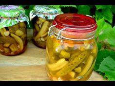 Ogórki na ostro do słoików - Jak zrobić - [Smakowite Dania] - YouTube Pickles, Cucumber, Food, Youtube, Home Canning, Pickle, Cauliflower, Meals, Youtubers