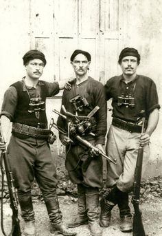 Greek partisans who fought German invaders during the battle of Crete (May 1941). This image has become a sort of anti-government mascot during the upheavals in the Greek economy since 2011.