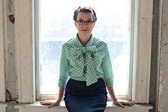Mint Green Polka Dot Bow Shirt   Spring Collection 2015   Modest Apparel www.jademackenzie.com