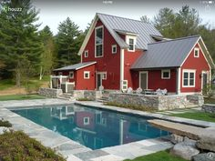 TOTALLY love the farmhouse and the stone around the pool and stone diving board
