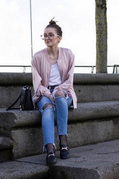 Styling the FISHNET trend on www.DreamLoveStyle.com with ripped, embroidered denim, loafers and bomber jacket. #fashion #ootd #fbloggers #fishnets #streetstyle #howtowearfishnets #style #ss17