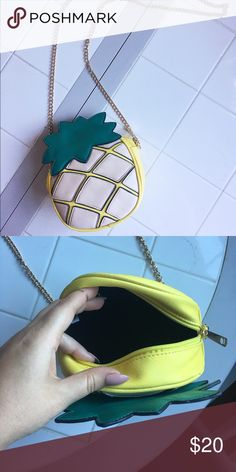 Long chain pineapple purse 🍍 Pineapple shaped body of bag. Long gold metal chain. Hardly used. Can fit cell phone, wallet, makeup, and various other products at once! torrid Bags Mini Bags