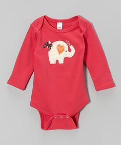 Look at this #zulilyfind! Petunia Petals Fuchsia Heart Elephant Bodysuit - Infant by Petunia Petals #zulilyfinds