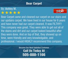Bear Carpet came and cleaned our carpet on our stairs and our upstairs carpet. We have...